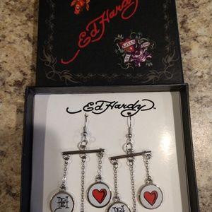 NIB Ed Hardy Chandelier Skull And Heart Earrings
